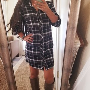 Athleta Flannel Shirt Button Up Plaid Dress Tunic